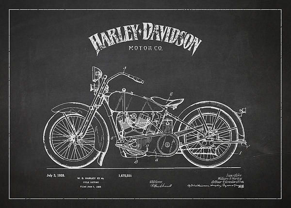 Harley Davidson Motorcycle Cycle Support Patent Drawing From 192 Print by Aged Pixel
