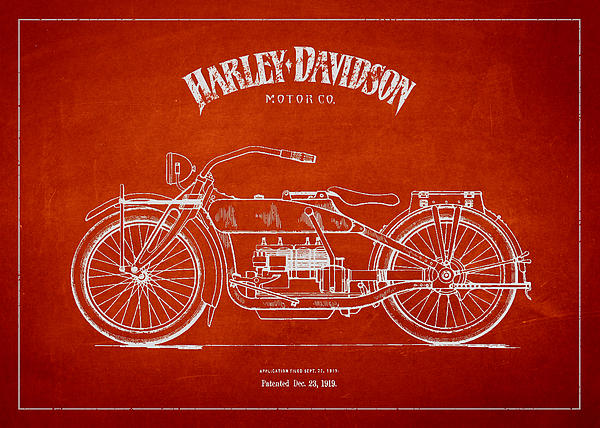 Harley Davidson Motorcycle Patent Drawing From 1919 Print by Aged Pixel