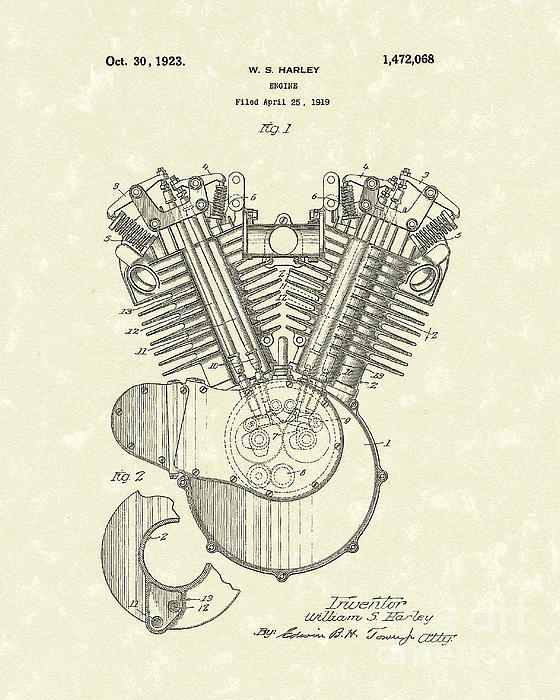Harley Engine 1923 Patent Art Print by Prior Art Design