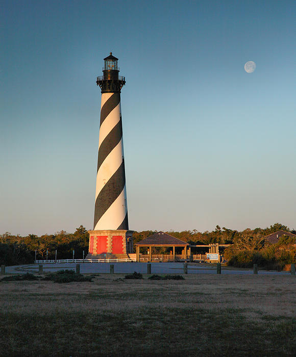 Hatteras Lighthouse And Moon Print by Steven Ainsworth