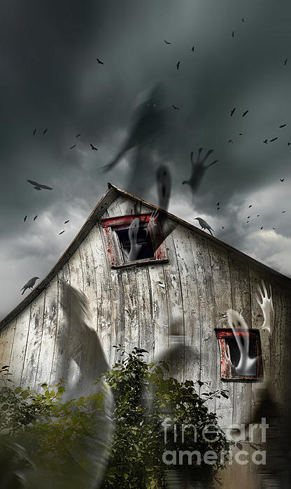Haunted Barn With Ghosts Flying And Dark Skies Print by Sandra Cunningham