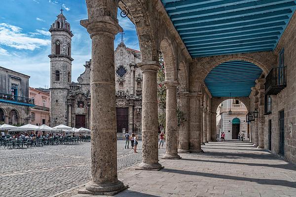 Havana Cathedral And Porches. Cuba Print by Juan Carlos Ferro Duque