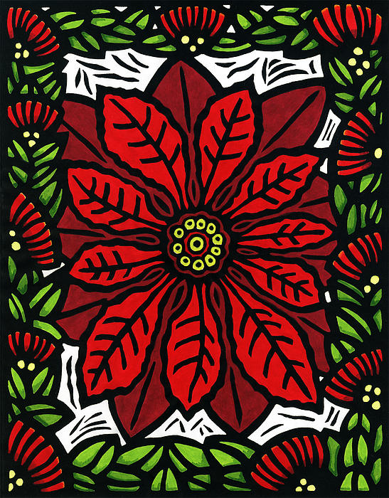 Hawaiian Christmas Joy Print by Lisa Greig
