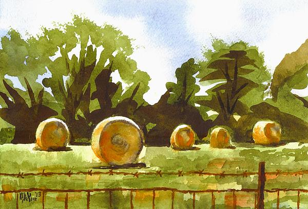 Hay Bales At Noontime Print by Kip DeVore