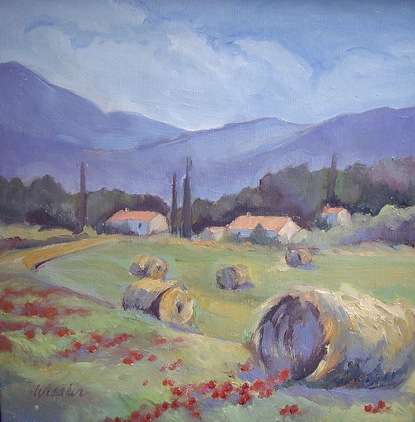 Haybales And Poppies Of Provence Print by Linda  Wissler