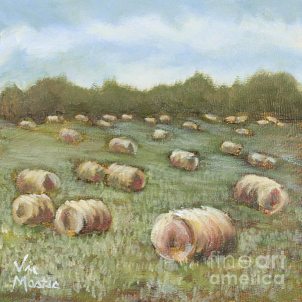 Haybales In The Field Print by Vic  Mastis
