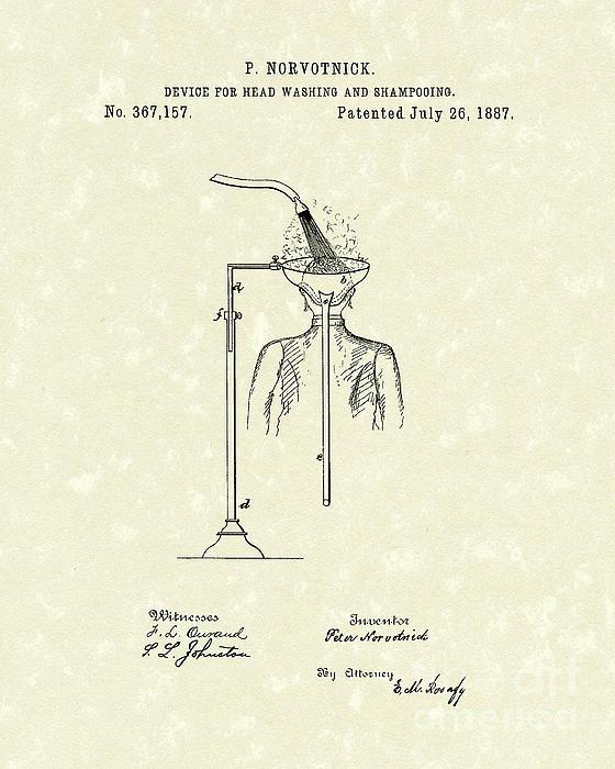 Head Washer 1887 Patent Art Print by Prior Art Design