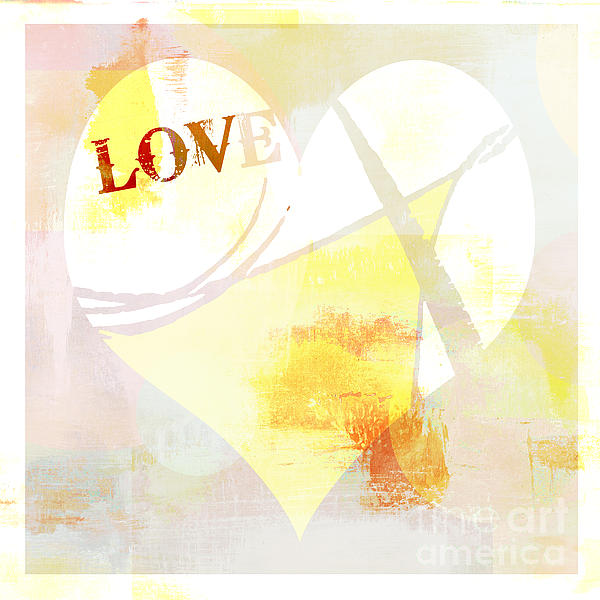 Heart Love Typography Collage Print by Anahi DeCanio