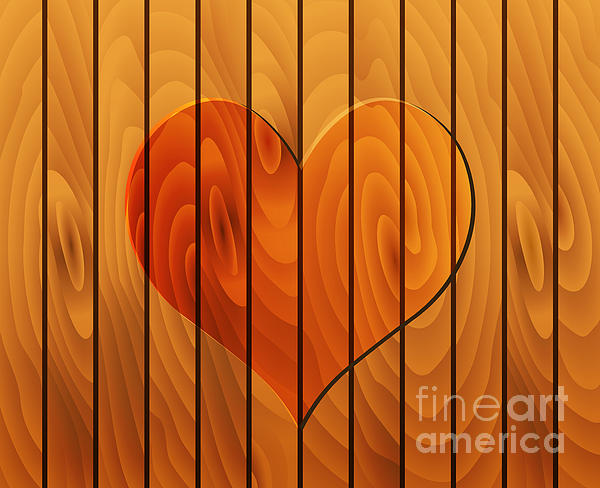 Heart On Wooden Texture Print by Michal Boubin