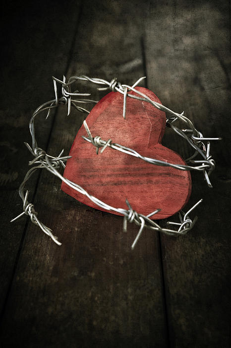 Heart With Barbed Wire Print by Joana Kruse