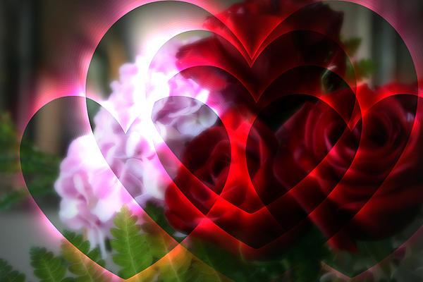 Hearts A Fire Print by Kay Novy