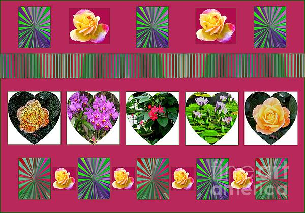 Hearts And Flowers 2 Print by Marian Bell