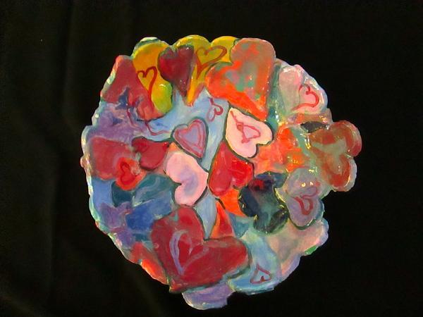 Hearts Hand Built Print by Martha Nelson
