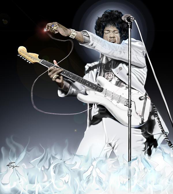 Heavens Fire - The Jimi Hendrix Series  Print by Reggie Duffie