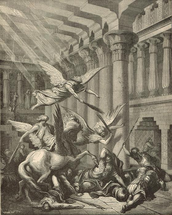 Heliodorus Punished In The Temple Print by Antique Engravings