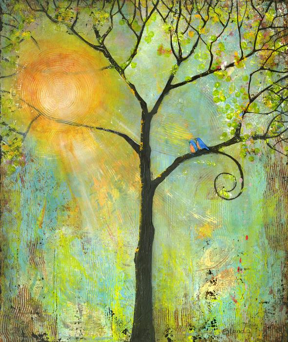 Hello Sunshine Tree Birds Sun Art Print Print by Blenda Studio