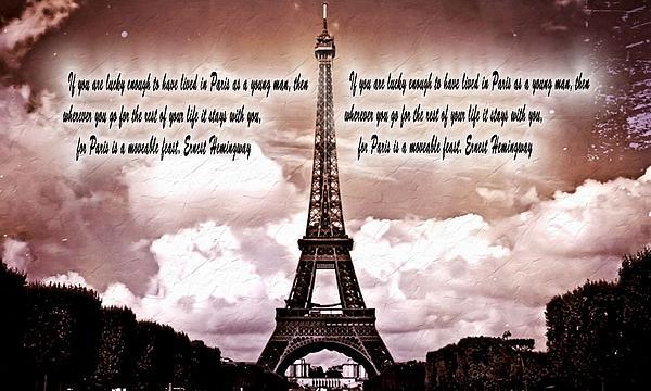 Hemingway And Paris Print by Dan Sproul