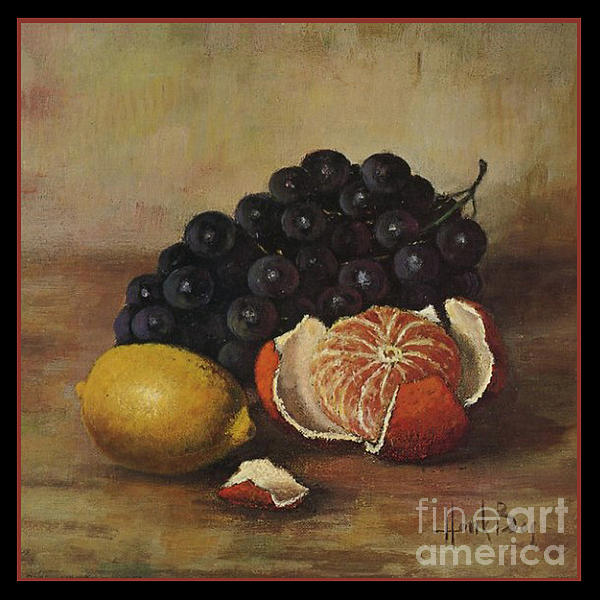 Henk Bos Fruits Still Life Grapes Lemon And Orange Print by Pierpont Bay Archives