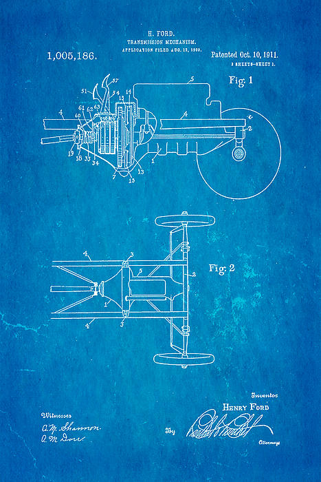 Henry Ford Transmission Mechanism Patent Art 1911 Blueprint Print by Ian Monk