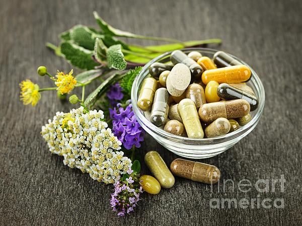 Herbal Medicine And Herbs Print by Elena Elisseeva