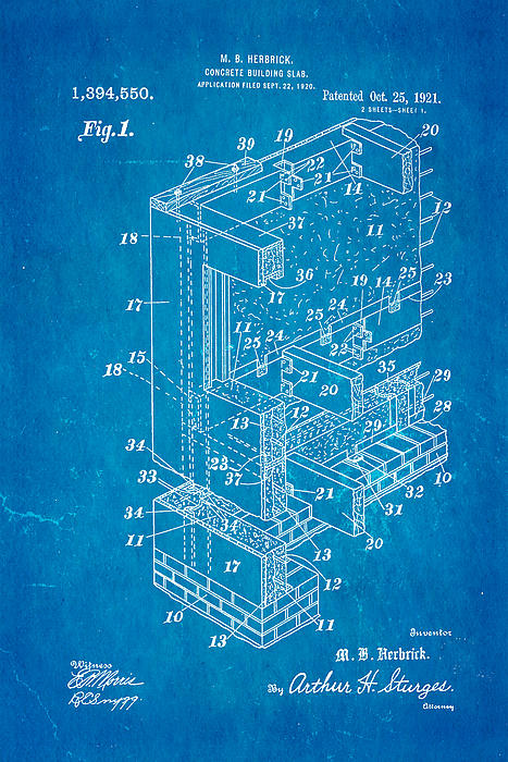 Herbrick Concrete Building Slab Patent Art 1921 Blueprint Print by Ian Monk