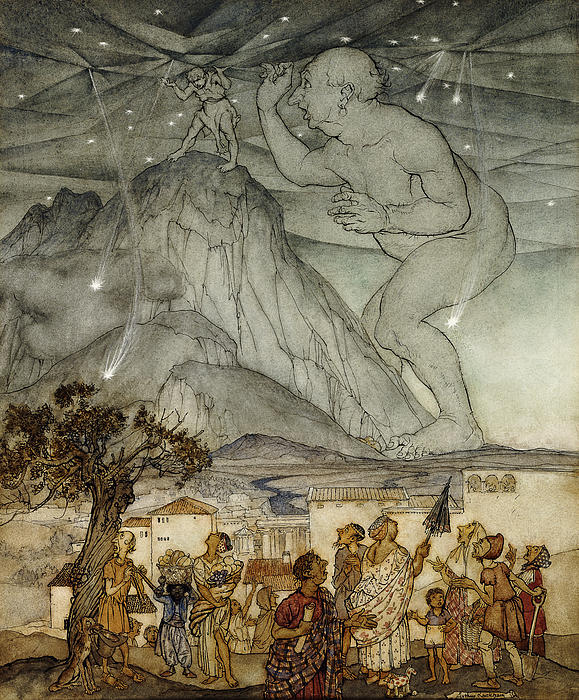 Hercules Supporting The Sky Instead Of Atlas Print by Arthur Rackham