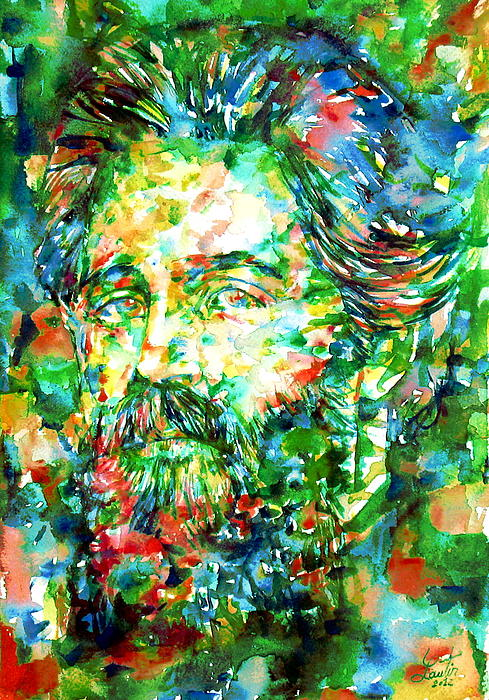 Herman Melville Watercolor Portrait Print by Fabrizio Cassetta