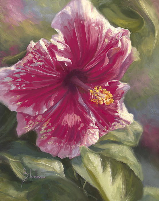 Hibiscus In Bloom Print by Lucie Bilodeau