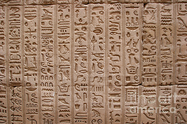 Hieroglyphs At The Temple Of Philae Print by Stephen & Donna O'Meara