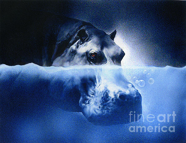Hippo Print by Robert Foster