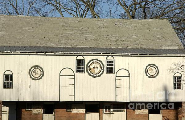 Historic Barn With Hex Signs In Pennsylvania Print by Anna Lisa Yoder