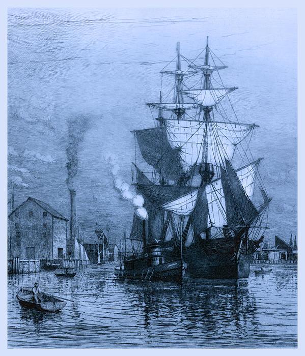 Historic Seaport Blue Schooner Print by John Stephens