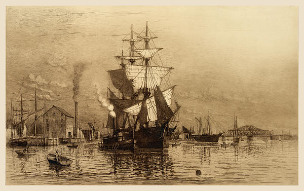 Historic Seaport Schooner Print by John Stephens