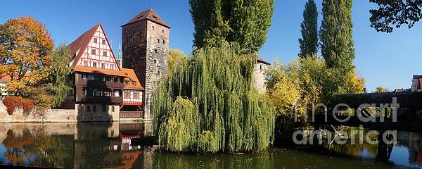 historic winestorage and executioner bridge in Nuremberg Print by Rudi Prott