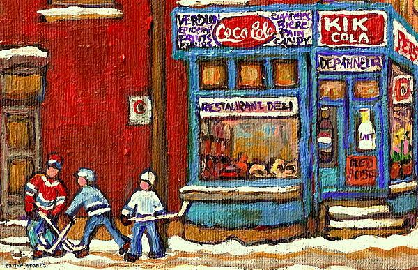 Hockey Game At The Corner Kik Cola Depanneur  Resto Deli  - Verdun Winter Montreal Street Scene  Print by Carole Spandau