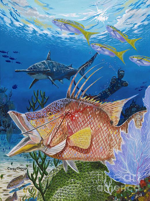 Hog Fish Spear Print by Carey Chen