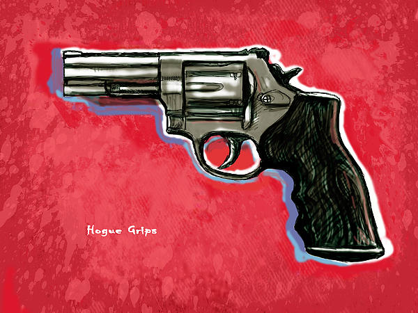 Hogue Grips Hang Gun - Stylised Art Drawing Sketch Print by Kim Wang