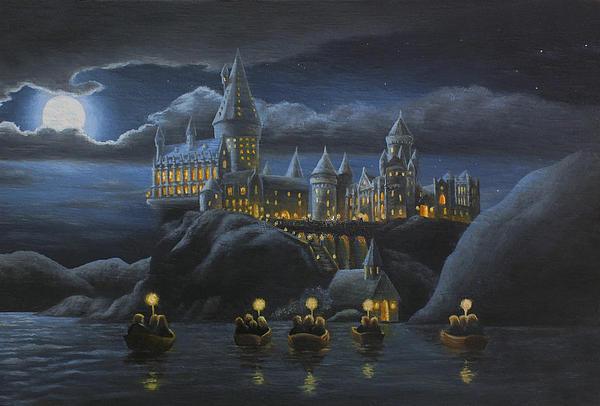 Hogwarts At Night Print by Karen Coombes