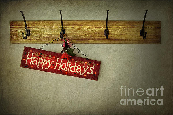 Holiday Sign On Antique Plaster Wall Print by Sandra Cunningham