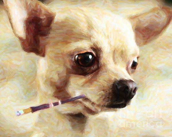 Hollywood Fifi Chika Chihuahua - Painterly Print by Wingsdomain Art and Photography