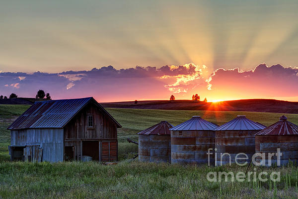 Home Town Sunset Print by Mark Kiver