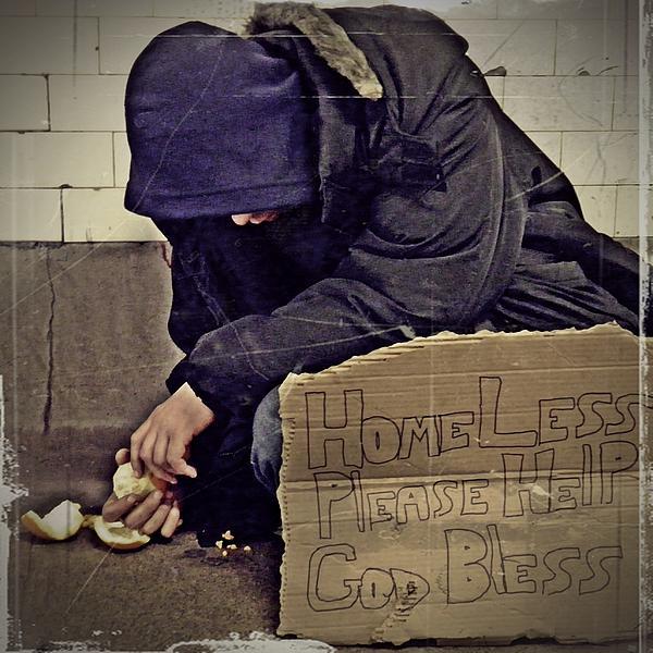 Homeless Please Help Print by Sarah Loft