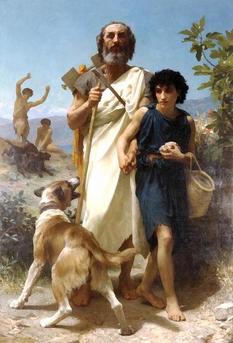 Homer And His Guide Print by William Bouguereau