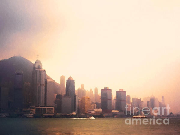 Hong Kong Harbour Sunset Print by Pixel  Chimp
