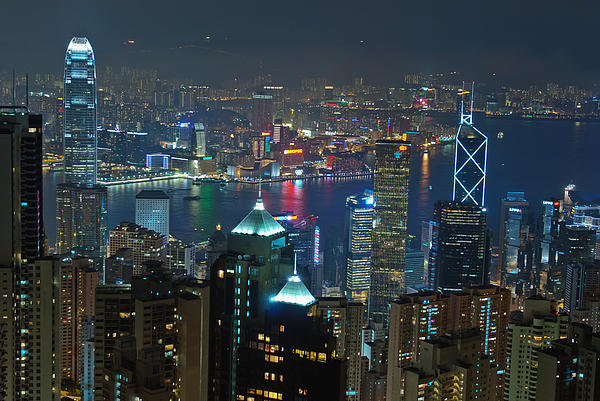Hong Kong Night Scene Print by Marek Poplawski