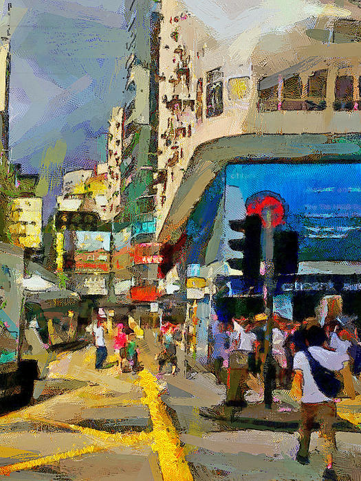 Hong Kong Streets 1 Print by Yury Malkov
