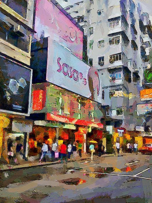 Hong Kong Streets 2 Print by Yury Malkov