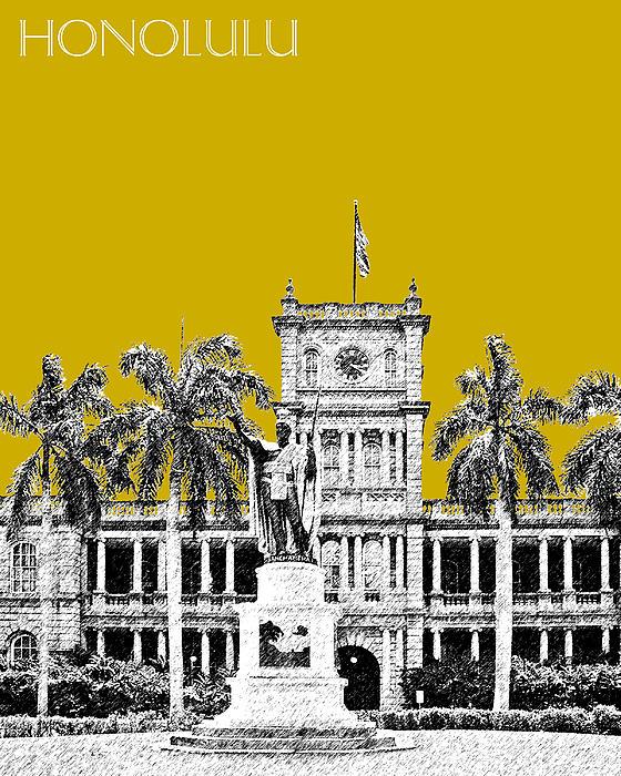 Honolulu Skyline King Kamehameha - Gold Print by DB Artist