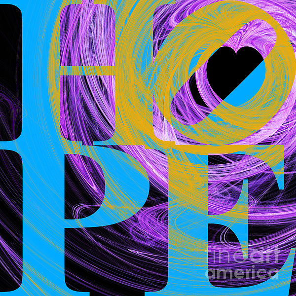 Hope Fractal Heart 20130710 V2 Print by Wingsdomain Art and Photography