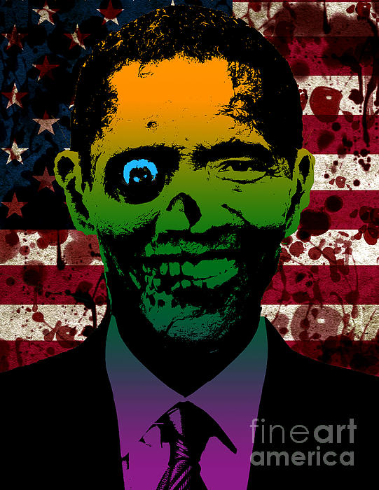 Horrific Zombie Obama Print by Robert Phelps